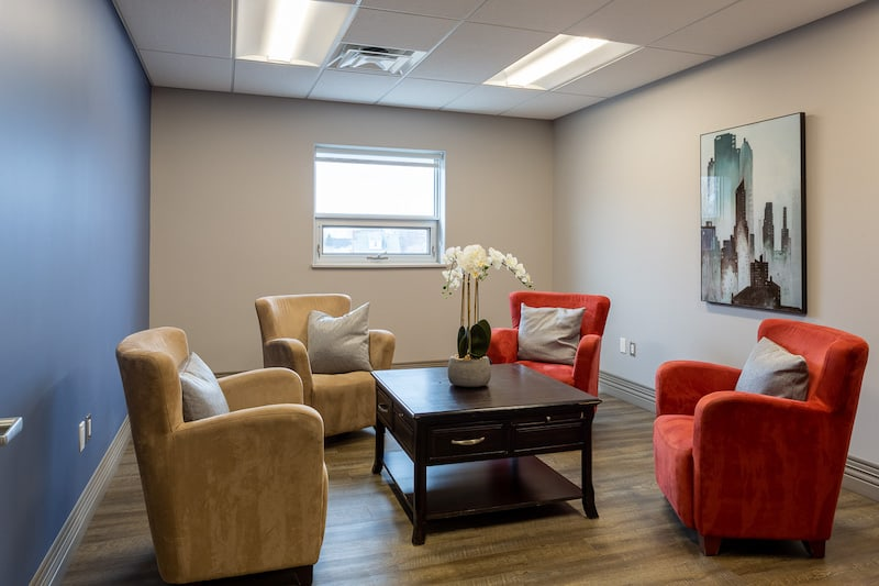 A picture of a belleville dentist called You Make Me Smile Dental Centre's chairs in the waiting area.
